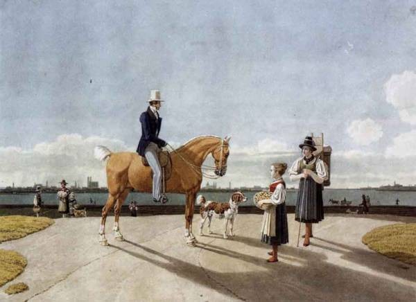 Gentleman On Horseback And Country Girl On The Banks Of The Isar Near Munich